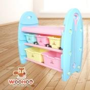 WOOHOO兒童玩具收納櫃-三層窄(藍側板)