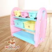 WOOHOO兒童玩具收納櫃-三層窄(粉側板)