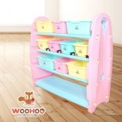 WOOHOO兒童玩具收納櫃-四層寬(粉側板)