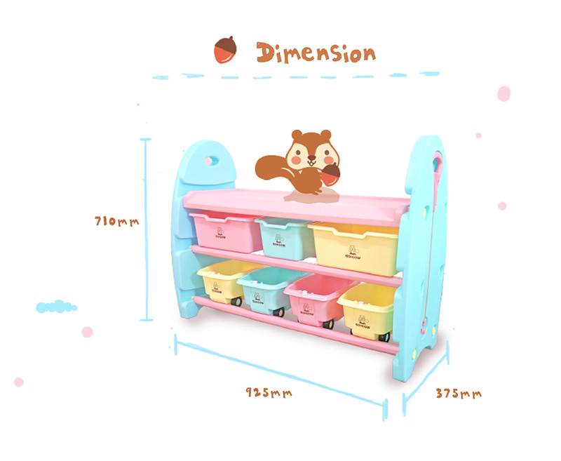 3 Tier Toy Organizer with Storage Bins and Carts (Wide)