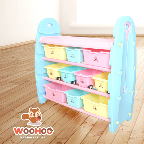 4 Tier Toy Organizer with Storage Bins and Carts (Wide)